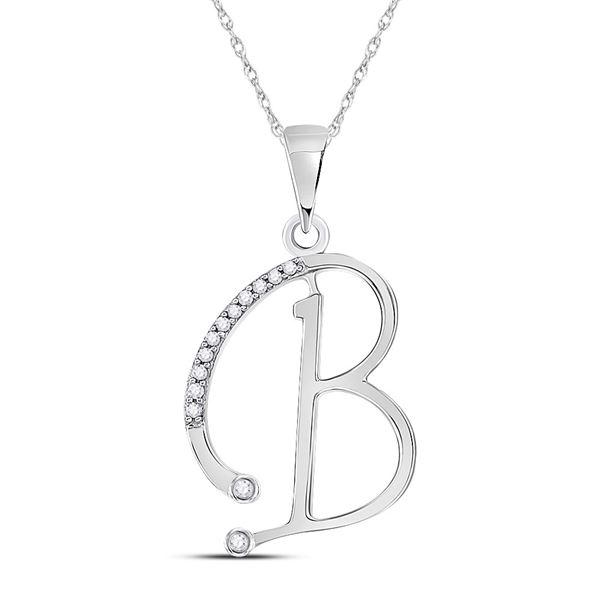 Diamond B Initial Letter Pendant 1/12 Cttw 10kt White Gold