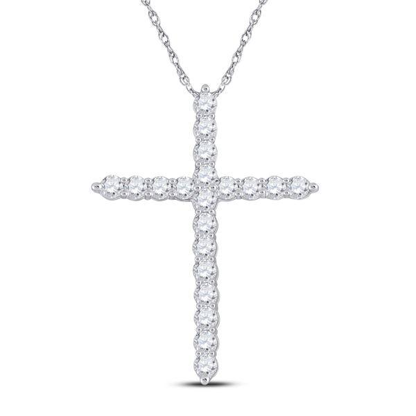 Diamond Cross Pendant 3/4 Cttw 14kt White Gold