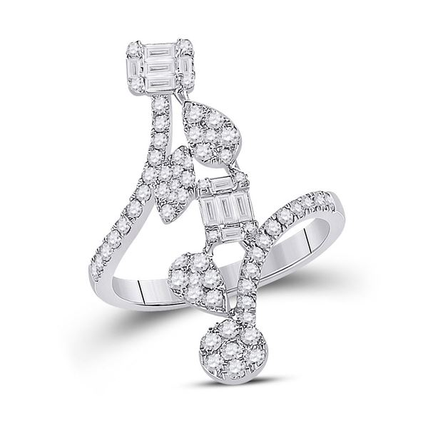 Baguette Diamond Bypass Cluster Fashion Ring 7/8 Cttw 14kt White Gold