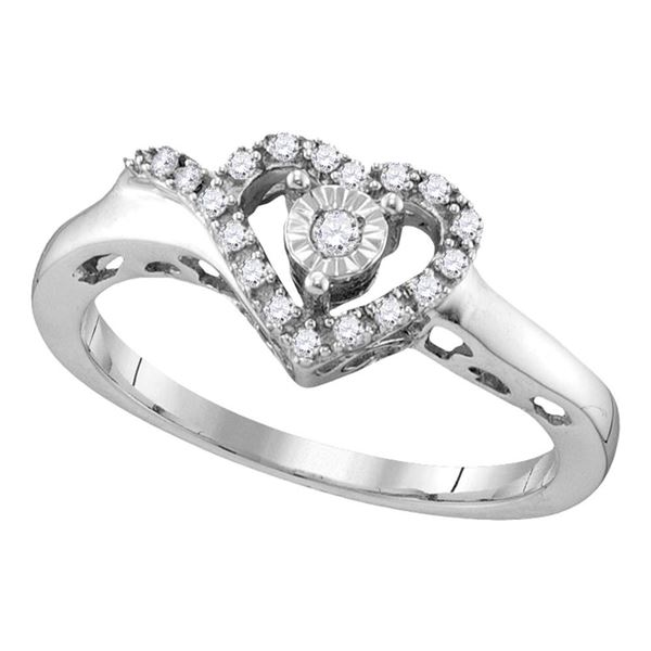 Diamond Heart Ring 1/10 Cttw Sterling Silver
