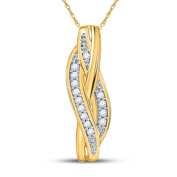 Diamond Vertical Woven Strand Pendant 1/20 Cttw 10kt Yellow Gold