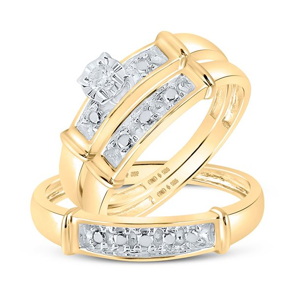 Yellow-tone Sterling Silver His Hers Diamond Matching Wedding Set 1/20 Cttw Yellow-tone Sterling Sil
