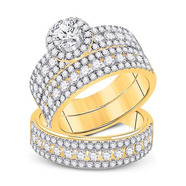 His Hers Diamond Halo Matching Wedding Set 3 Cttw 14kt Yellow Gold