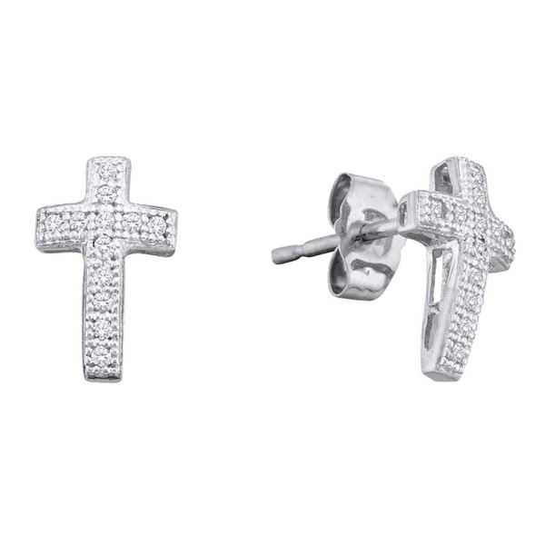 Diamond Cluster Earrings 1/10 Cttw 10kt White Gold