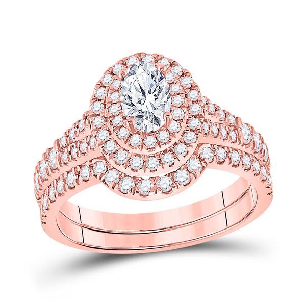Oval Diamond Bridal Wedding Ring Band Set 1-1/4 Cttw 14kt Rose Gold