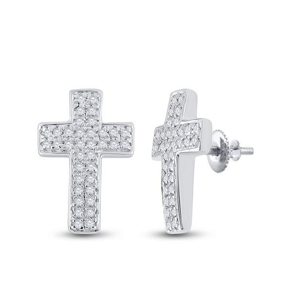 Diamond Cross Earrings 1/5 Cttw 10kt White Gold