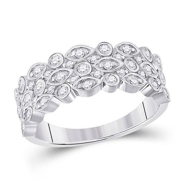 Diamond Oval Dot 3-Row Fashion Ring 3/4 Cttw 14kt White Gold