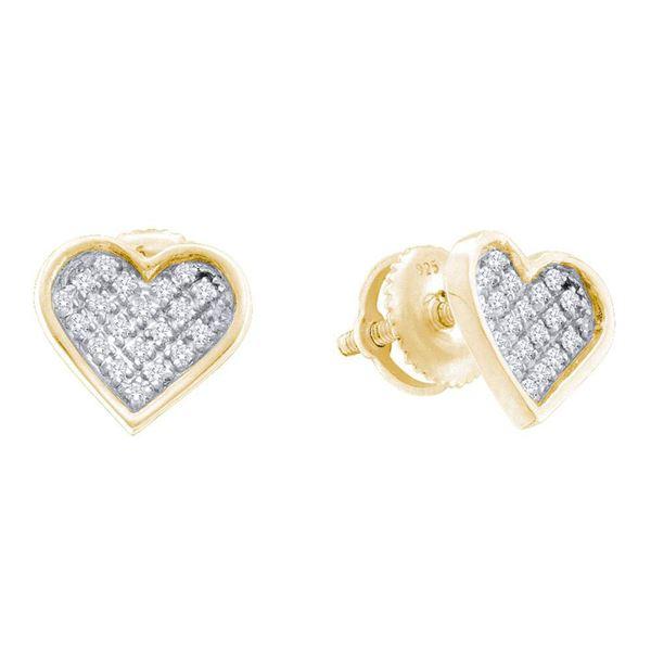 Diamond Heart Earrings 1/10 Cttw Yellow-tone Sterling Silver