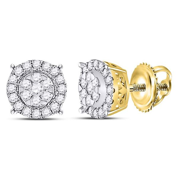 Diamond Halo Cluster Earrings 1/4 Cttw 14kt Yellow Gold