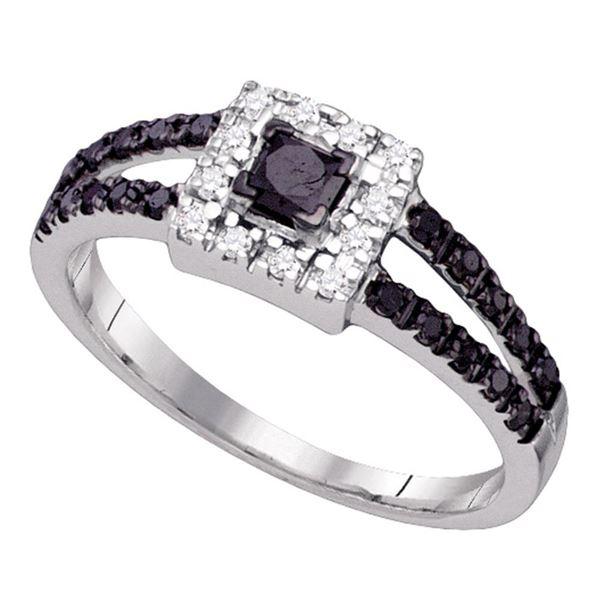 Princess Black Color Enhanced Diamond Bridal Wedding Ring 5/8 Cttw 10kt White Gold