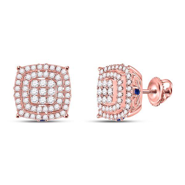 Diamond Blue Sapphire Square Earrings 7/8 Cttw 14kt Rose Gold