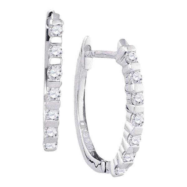 Diamond Hoop Earrings 1/4 Cttw 10kt White Gold