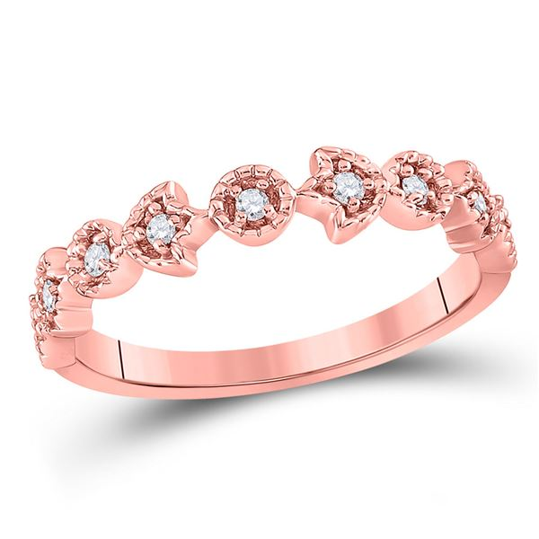 Diamond Floral Stackable Band Ring 1/10 Cttw 14kt Rose Gold