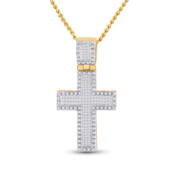 Mens Princess Diamond Cross Charm Pendant 1 Cttw 10kt Yellow Gold