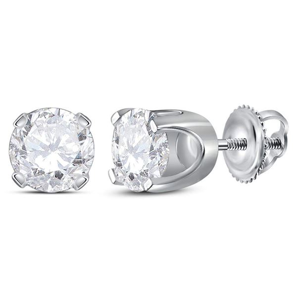 Unisex Diamond Solitaire Stud Earrings 1-3/8 Cttw 14kt White Gold
