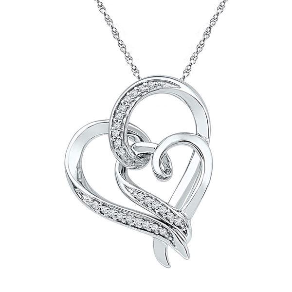 Diamond Double Heart Pendant 1/10 Cttw Sterling Silver