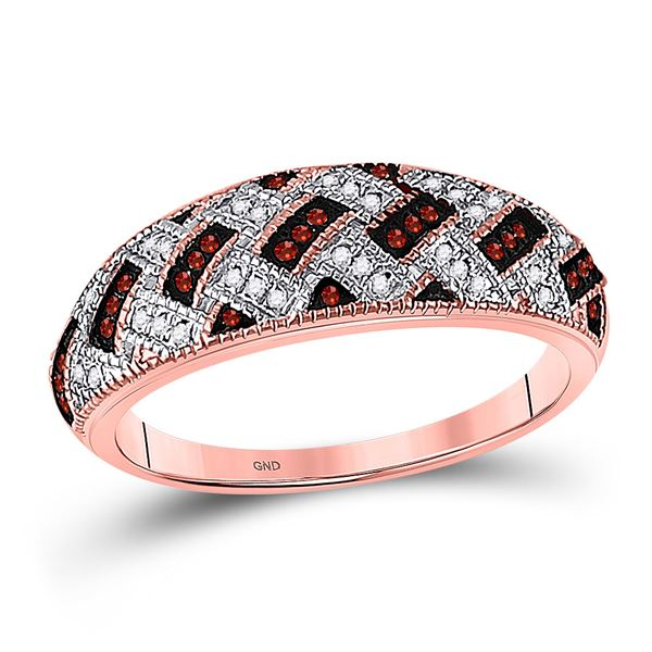 Red Color Enhanced Diamond Band Ring 1/6 Cttw 10kt Rose Gold