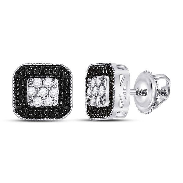 Black Color Enhanced Diamond Square Cluster Earrings 1/4 Cttw 10kt White Gold