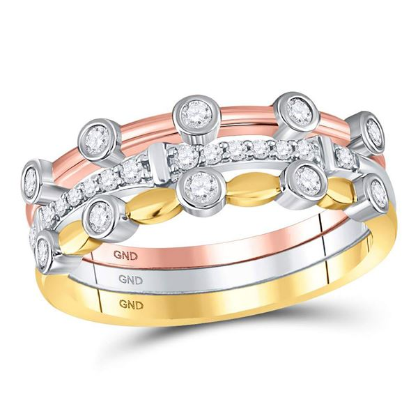 Diamond 3-Piece Stackable Band Ring Set 1/3 Cttw 10kt Tri-Tone Gold