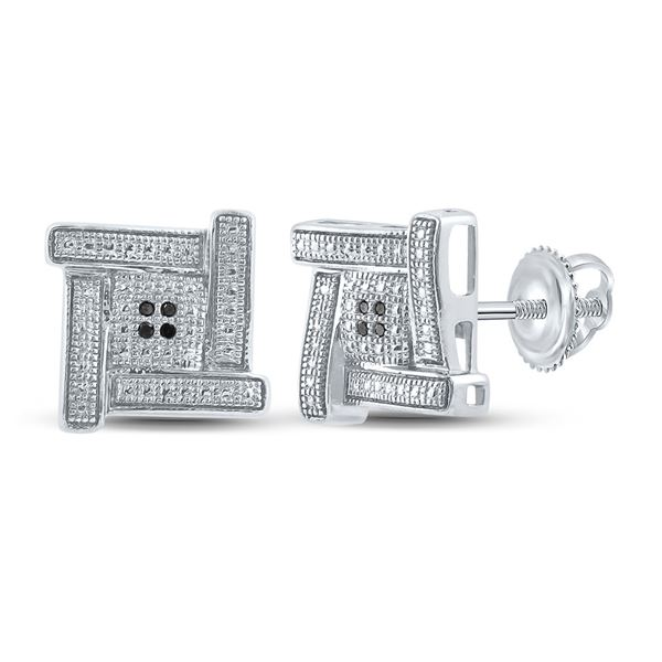 Sterling Silver Mens Black Color Enhanced Diamond Square Earrings .03 Cttw Sterling Silver