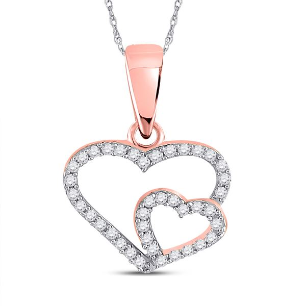 Diamond Double Heart Pendant 1/10 Cttw 10kt Rose Gold