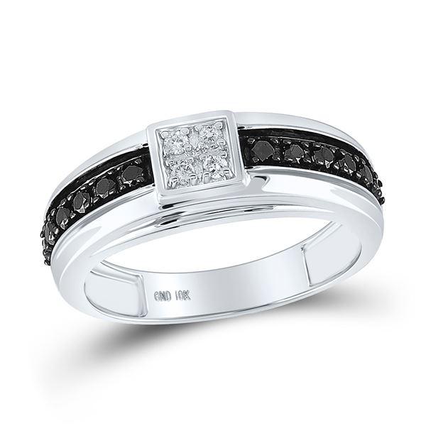 Mens Black Color Enhanced Diamond Wedding Anniversary Band Ring 1/2 Cttw 10k White Gold