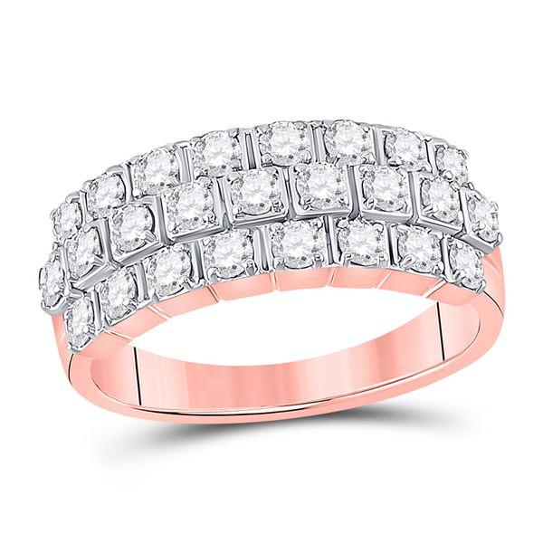 Diamond 3-Row Anniversary Ring 1 Cttw 14kt Rose Gold