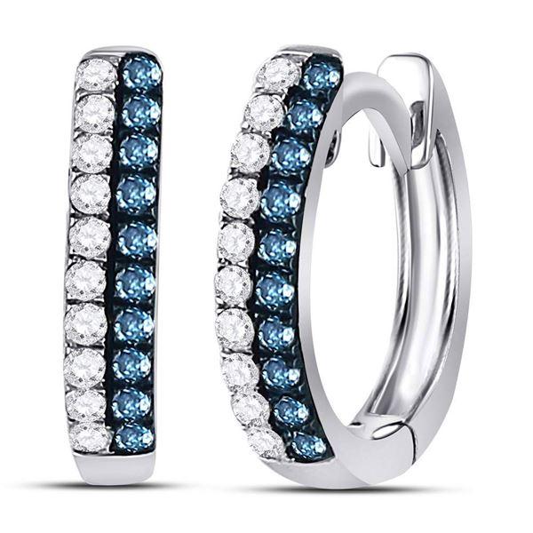 Blue Color Enhanced Diamond Huggie Earrings 1/5 Cttw 10kt White Gold