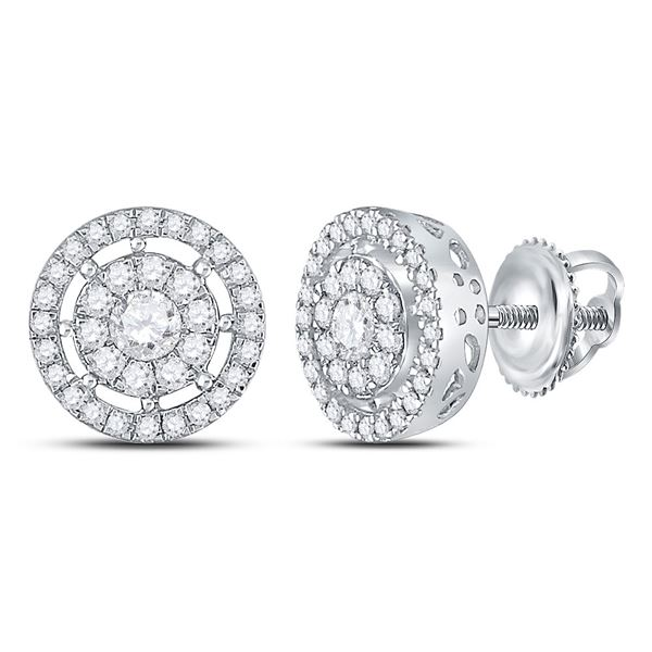 Diamond Cluster Earrings 1 Cttw 14kt White Gold