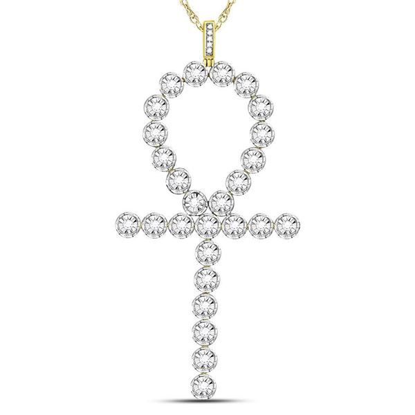 Mens Diamond Ankh Cross Charm Pendant 3/4 Cttw 10kt Yellow Gold