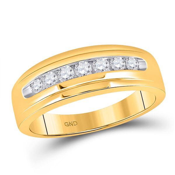Mens Diamond Wedding Single Row Band Ring 1/2 Cttw 14kt Yellow Gold