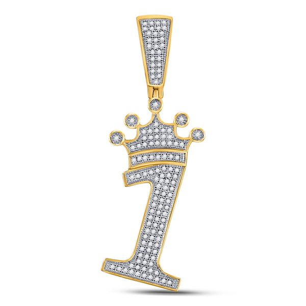 Mens Diamond Number 1 Crown Charm Pendant 1/3 Cttw 10kt Yellow Gold