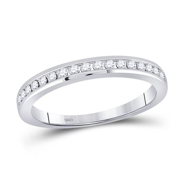 Diamond Wedding Single Row Band 1/4 Cttw 14kt White Gold