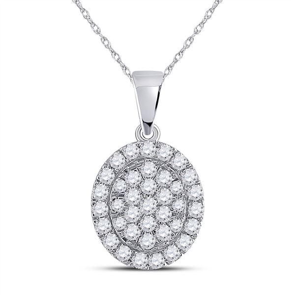 Diamond Oval Pendant 1/2 Cttw 10kt White Gold