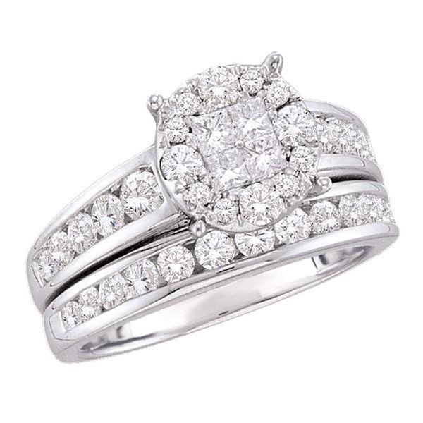 Diamond Cluster Bridal Wedding Ring Band Set 1-3/8 Cttw 14kt White Gold