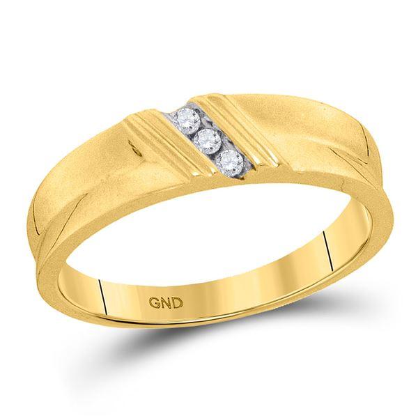 Mens Diamond Wedding Band Ring 1/20 Cttw 10kt Yellow Gold