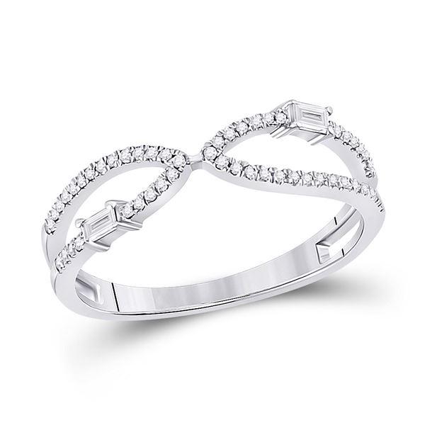Baguette Diamond Fashion Ring 1/6 Cttw 14kt White Gold