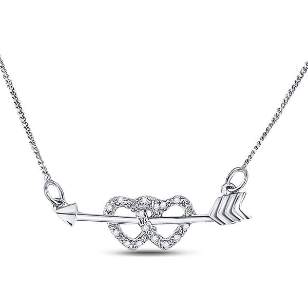 Diamond Double Heart Arrow Necklace 1/20 Cttw Sterling Silver