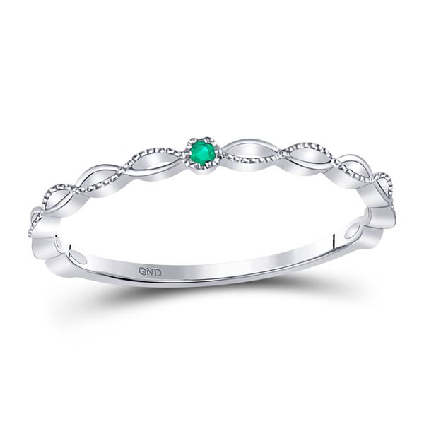 Emerald Solitaire Milgrain Stackable Band Ring .01 Cttw 10kt White Gold