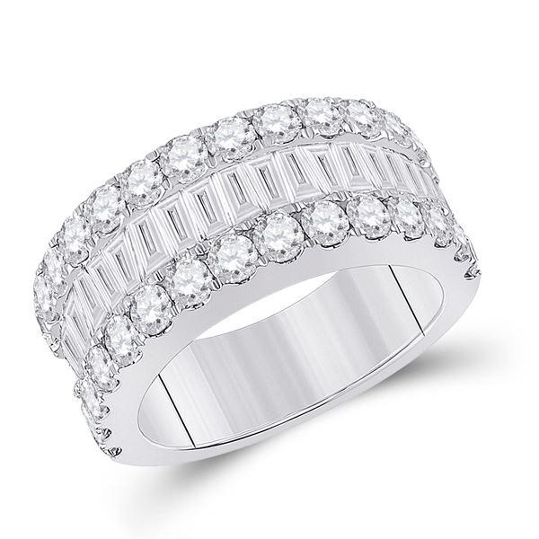 Baguette Diamond Anniversary Ring 3 Cttw 14kt White Gold