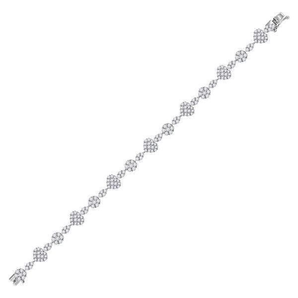 Princess Diamond Heart Bracelet 4-1/2 Cttw 14kt White Gold