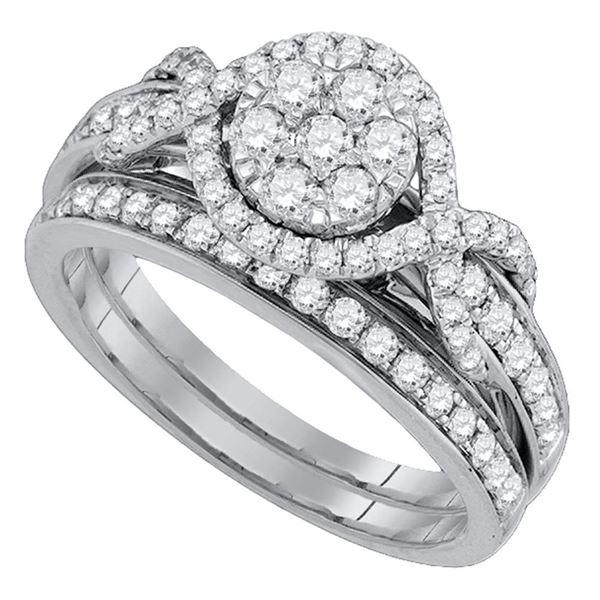 Diamond Cluster Bridal Wedding Ring Band Set 1 Cttw 14kt White Gold