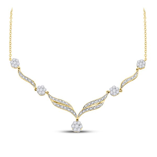 Diamond Cluster Y-Shape Necklace 3/4 Cttw 14kt Yellow Gold