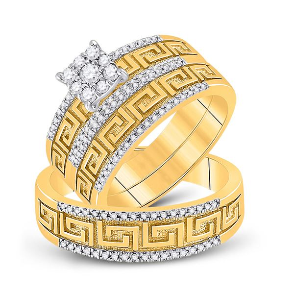 His Hers Diamond Cluster Matching Wedding Set 3/8 Cttw 10kt Yellow Gold