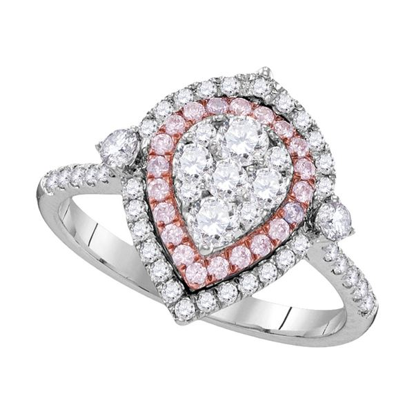 Pink Diamond Teardrop Cluster Ring 1 Cttw 14kt White Gold