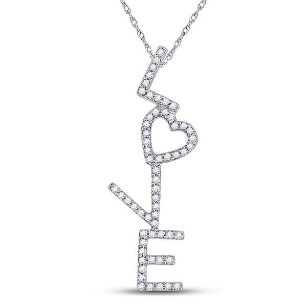 Diamond Cascading Love Heart Pendant 1/5 Cttw 10kt White Gold