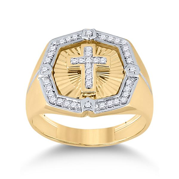 Mens Diamond Cross Ring 1/4 Cttw 10kt Yellow Gold