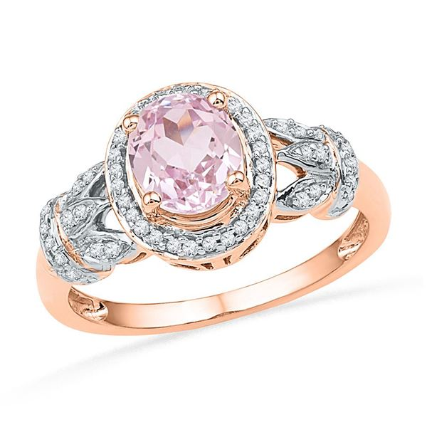 Oval Morganite Diamond Solitaire Ring 1 Cttw 10kt Rose Gold
