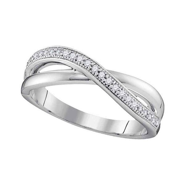 Diamond Crossover Band Ring 1/8 Cttw 10kt White Gold