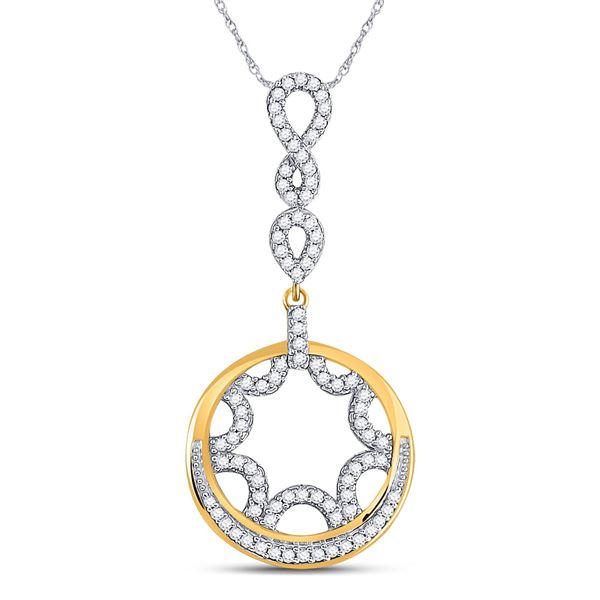 Diamond Dangle Circle Pendant 1/4 Cttw 10kt Yellow Gold